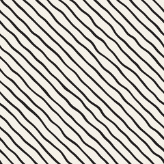 Seamless pattern with hand drawn waves. Abstract background with wavy brush strokes. Black and white freehand lines texture.