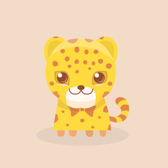 Cute Safari Leopard Cheetah Vector Illustration.