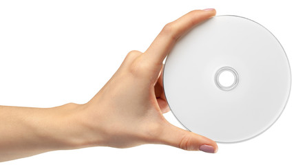 hand holds a compact disk(cd) isolated