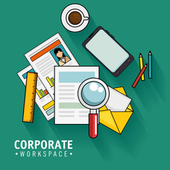 Corporate workspace design with  office supplies over teal background vector illustration
