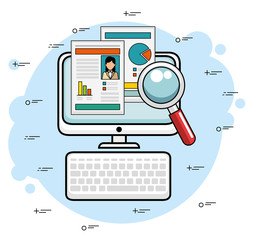 Computer with document stats and magnifying glass over blue and white background vector illustration