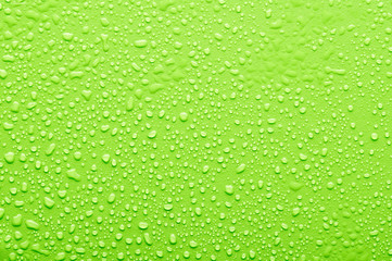 water drops on a green bsckground Wall mural