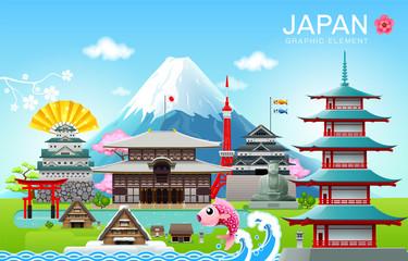 japan landmark travel object vector illustration