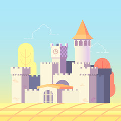 fairytale castle in flat design