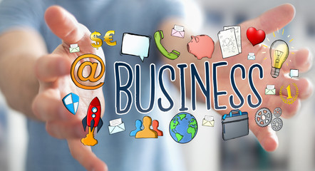 Businessman using hand-drawn business presentation