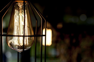 Vintage edison bulb in a metal shade.