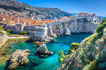Dubrovnik landscape. / Aerial view at famous european travel destination in Croatia, Dubrovnik old town. Wall mural