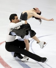 Cappellini and Lanotte of Italy perform during the ice dance free dance program at the Rostelecom Cup ISU Grand Prix of Figure Skating in Moscow