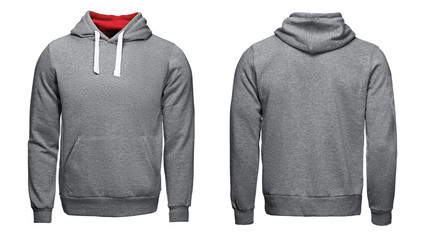 gray hoodie, sweatshirt mockup, isolated on white background