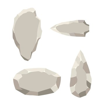 Ancient stone tools set isolated on white background. Primitive culture Stone age tool in flat style. Vector illustration.