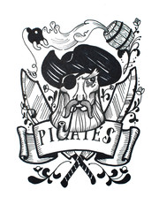 Pen and ink vintage drawing of pirate captain for tattoo or T-shirt design