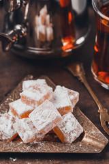 Homemade turkish delights. Vintage tonning