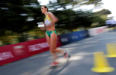 Billington of Australia competes during the junior women's 10 kilometres race walk at the World Race Walking Team Championships in Rome
