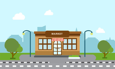 Shop store building on street with tree and silhouette building background.Scene of supermarket and city with sky background vector illustration