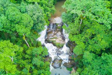 Aerial view of Sirithan waterfall in rainy season at Doi Inthanon national park, Chian Mai, Thailand