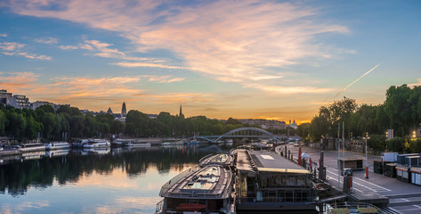 Sunrise over the Seine river in Paris, France