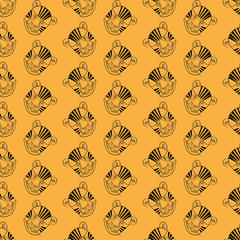 Seamless pattern of colorful embroidered butterflies on a yellow background, vector illustration