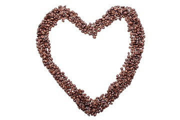 Heart love from coffee beans, isolated on white background