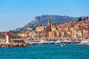View of colorful town of Menton.