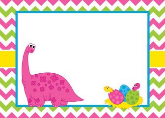 Vector Card Template with a Cute Cartoon Dinosaur on Chevron Background.