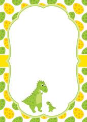 Vector Card Template with a Cute Cartoon Dinosaurs.