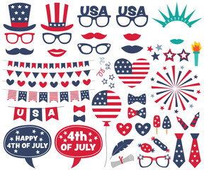 4th of July design elements and photo booth props set