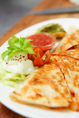 Quesadilla in plate, close-up