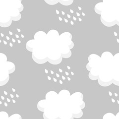 Seamless pattern with white clouds and raindrops on gray background. Ornament for children's textiles and wrapping. Vector.