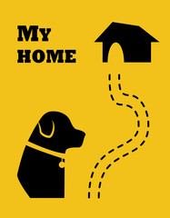 Silhouette of the dog and road to home. Flat style. Vector.
