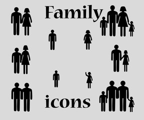 Happy family black icons.