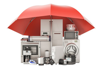 Household kitchen appliances, guarantee and protection concept. 3D rendering
