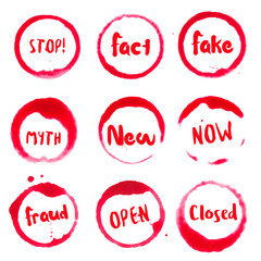 Common Words collection of round watercolor stains with stop!, fact, fake, myth, new, now, fraud, open, closed text. Set of vector Common Words stamps.