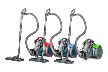 Set of colored vacuum cleaners, 3D rendering