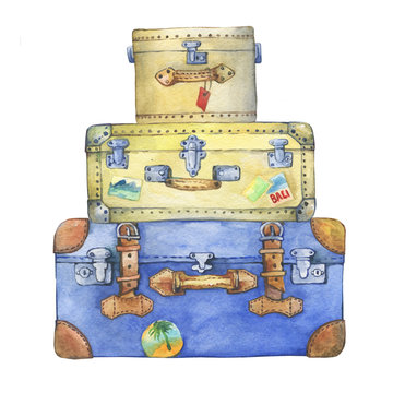 Old-fashioned yellow and blue hippie suitcases with label. Watercolor hand drawn painting illustration, isolated on white background.