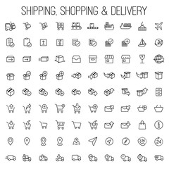 shipping, shopping and delivery icons set white background