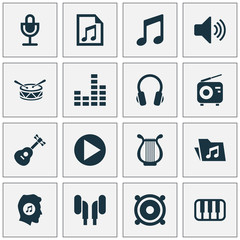 Audio Icons Set. Collection Of Earphone, Mike, Dossier And Other Elements. Also Includes Symbols Such As Start, Microphone, Instrument.
