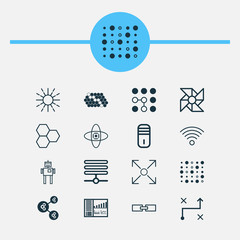 Machine Icons Set. Collection Of Information Components, Branching Program, Laptop Ventilator And Other Elements. Also Includes Symbols Such As Shared, Gear, Cells.