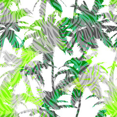 Trendy seamless exotic pattern with palm and animal prints . Modern abstract design for paper, wallpaper, cover, fabric and other users. Vector illustration.