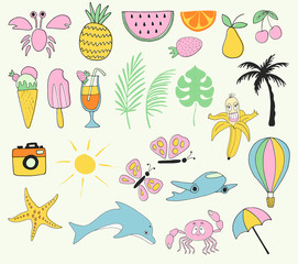 Set of hand drawn summer labels, logos and elements set for summer holiday, beach vacation. Vector illustration.
