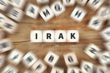 Irak Land Reise Reisen Würfel Business Konzept