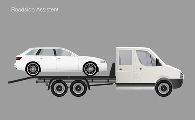 Roadside assistance tow truck illustration car. Vector