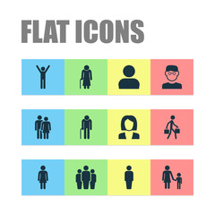 People Icons Set. Collection Of Family, Delivery Person, Businesswoman And Other Elements. Also Includes Symbols Such As Man, Woman, Mother.