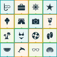 Sun Icons Set. Collection Of Lemonade, Bikini, Tube And Other Elements. Also Includes Symbols Such As Ice, Shorts, Hot.