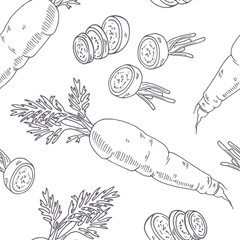 Hand drawn seamless pattern with carrot. Monochrome background in sketch style