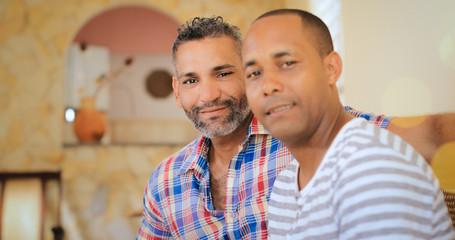 Portrait Happy Gay Couple Homosexual Men At Home