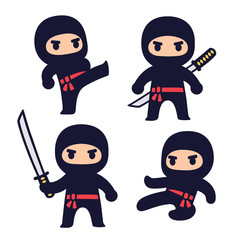 Cute cartoon ninja set