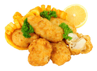 Cod fish nugget bites with curly fries isolated on a white background