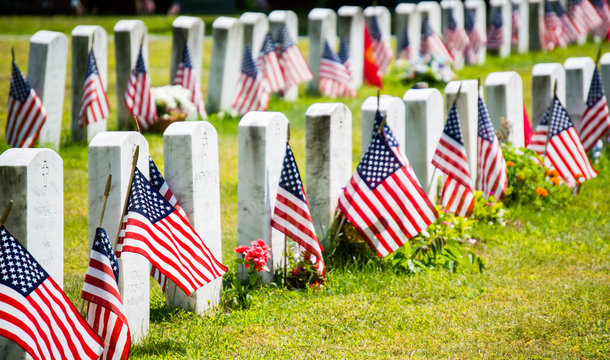 rows of gravestones with flags in military cemetery