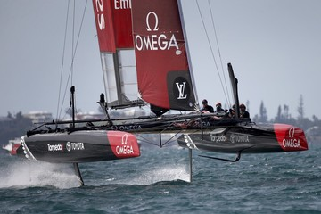 AC45F racing sailboat Emirates Team New Zealand sails to the leeward mark during race 3 of the America's Cup World Series sailing competition on the Great Sound in Hamilton