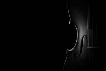 Foto op Canvas Muziek Violin closeup orchestra musical instruments
